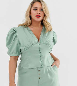 77c1fa2ef96 In The Style Plus x Laura Jade pleated balloon sleeve blouse in green