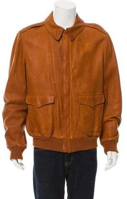 Ralph Lauren Purple Label Wool-Trimmed Leather Jacket