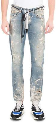 Off-White Diagonal Arrows Slim Vintage Paint Jeans $750 thestylecure.com
