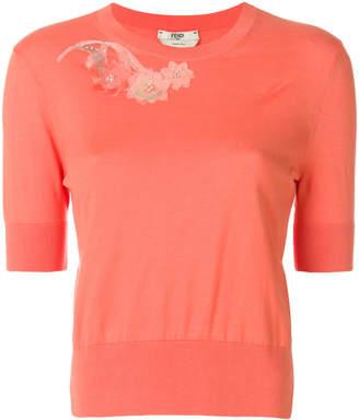Fendi floral short-sleeve sweater