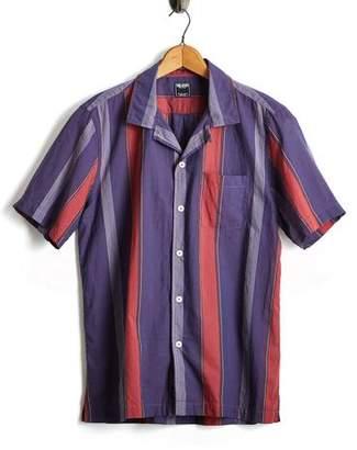 Todd Snyder Short Sleeve Awning Stripe Camp Collar Shirt
