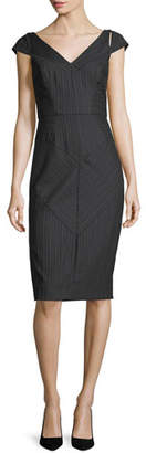 Milly Larissa Cap-Sleeve Pinstriped Sheath Dress