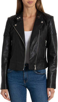 Bagatelle Quilted Leather Moto Jacket, Black