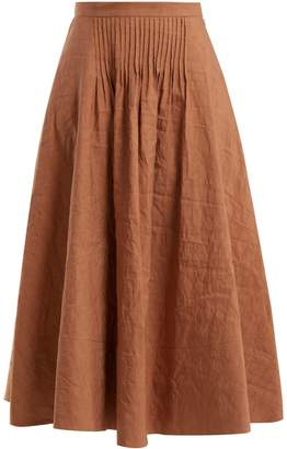 Roksanda Ayana pintuck-detail linen-blend skirt