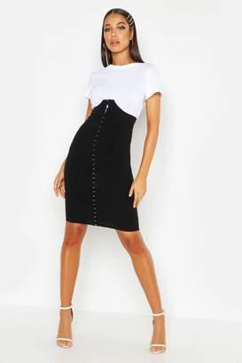 boohoo Corset Detail Super High Waist Midi Skirt