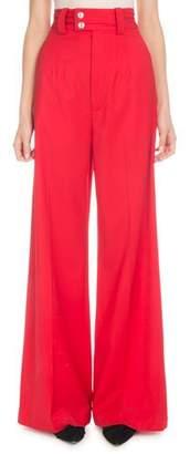 Proenza Schouler High-Waist Wide-Leg Stretch-Wool Pants