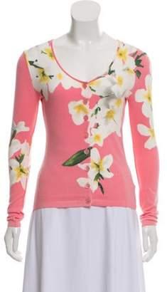 Blumarine Floral Button-Up Cardigan Pink Floral Button-Up Cardigan