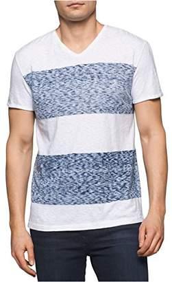 Calvin Klein Jeans Men's Short Sleeve Reverse Blotch Stripe Color Block T-Shirt