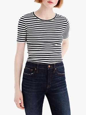 J.Crew Perfect Fit Stripe T-Shirt, Navy/Ivory
