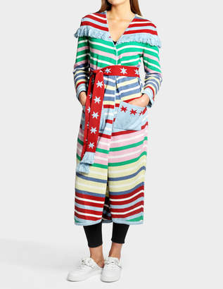 Candy Cane Long Cardigan in Multicolor Cotton and Cashmere