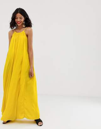 And other stories & rope strap a-line maxi dress in bright yellow