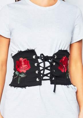 c8b9f42d50 Missy Empire Missyempire Lara Black Embroidered Frayed Corset Waist Belt