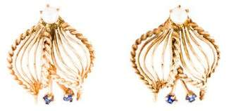14K Pearl & Sapphire Cage Earrings