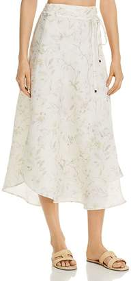 Three Dots Floral-Print Linen Midi Wrap Skirt