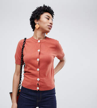 Asos Tall DESIGN Tall short sleeve fine knit cardigan with buttons