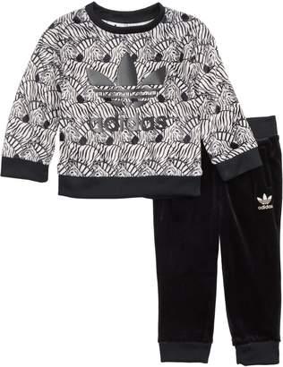 adidas Zebra Sweatshirt & Velvet Pants Set