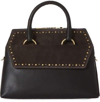 Diane von Furstenberg Black & Ash Small Front Flap Embellished Satchel