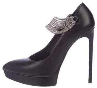 Saint Laurent Janis Leather Chain-Link Pumps Black Janis Leather Chain-Link Pumps