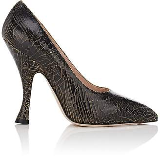 CNC Costume National WOMEN'S DONNA CRACKLED LEATHER PUMPS