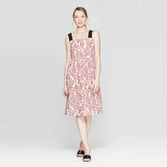 Who What Wear Women's Leaf Print Contrast Strap Midi A Line Dress Red/White