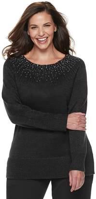 Apt. 9 Plus Size Embellished Yoke Crewneck Sweater