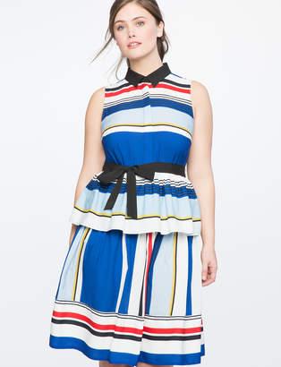 Patterned Peplum Shirt Dress