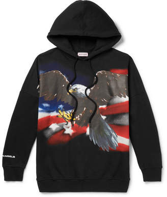 Palm Angels Oversized Printed Fleece-Back Cotton-Jersey Hoodie