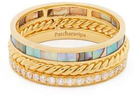 Mother of Pearl Patcharavipa - 18kt Gold, And Diamond Pave Ring - Womens - Blue