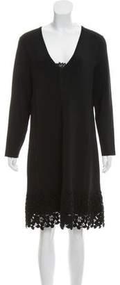 Lela Rose Lace-Trimmed Knee-Length Dress