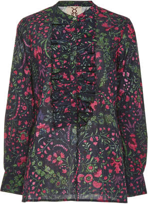 Figue Lotti Floral-Print Ruffle-Detailed Cotton Top