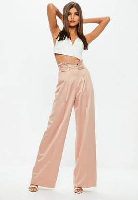 Missguided Pink Double Button Belted Wide Leg Pants