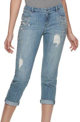 Women's Jennifer Lopez Embellished Boyfriend Jeans $74 thestylecure.com