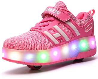 Chic Sources Little Girls Pink Roller Skate Shoes Double Wheeled Sneaker with LED Light Child 14