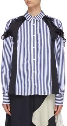 Sacai Ruffle panelled stripe shirt