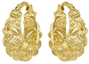 QVC 14K Gold Basketweave Textured Hoop Earrings