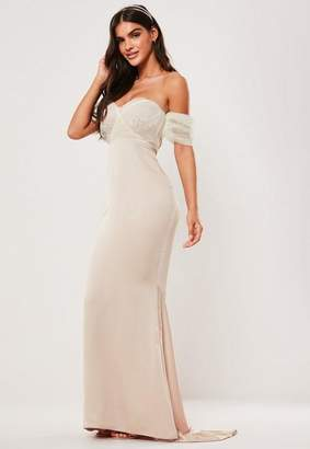 Missguided Bridesmaid Blush Bardot Organza Puff Sleeve Maxi Dress, Gold