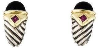 David Yurman Onyx & Tourmaline Renaissance Earclip Earrings