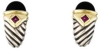 David Yurman Onyx & Tourmaline Renaissance Earclip Earrings