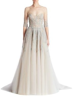 Reem Acra Embroidered Tulle Gown $7,995 thestylecure.com