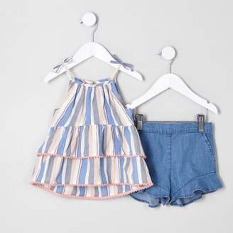 River Island Mini girls blue cami top and shorts outfit