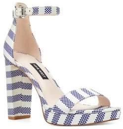 Nine West Dempsey Striped Fabric Platform Sandals