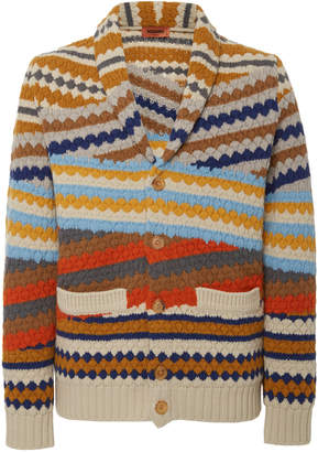 Missoni Shawl-Collar Striped Wool Cardigan