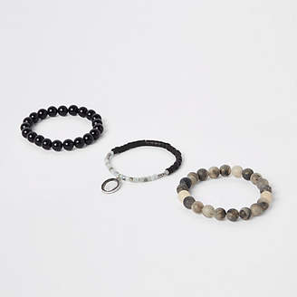 River Island Mens Grey bead bracelet pack
