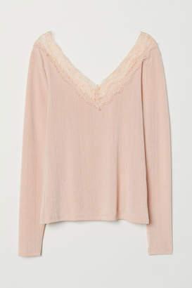 H&M Top with Lace Details - Orange