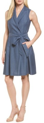 Women's Anne Klein Denim Faux Wrap Dress $119 thestylecure.com