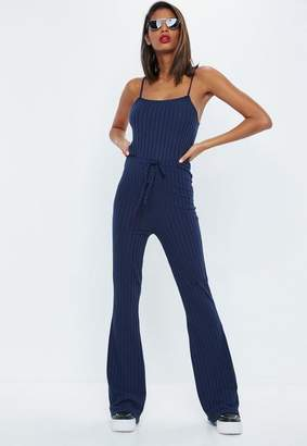 Missguided Navy Ribbed High Waist Flared Leg Romper