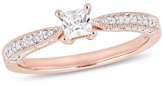 Miabella 1/3 Carat T.G.W. Created White Sapphire and Diamond-Accent Rose-Plated Sterling Silver Engagement Ring
