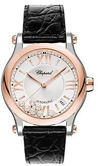 Chopard Women's Happy Sport Diamond 18K Rose Gold, Stainless Steel& Leather Strap Watch