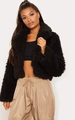 PrettyLittleThing Stone Teddy Faux Fur Cropped Jacket