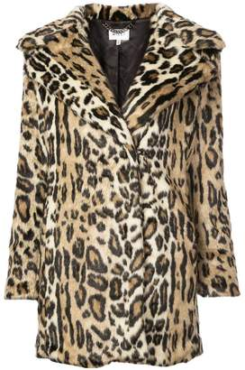 Milly leopard printed shearling coat